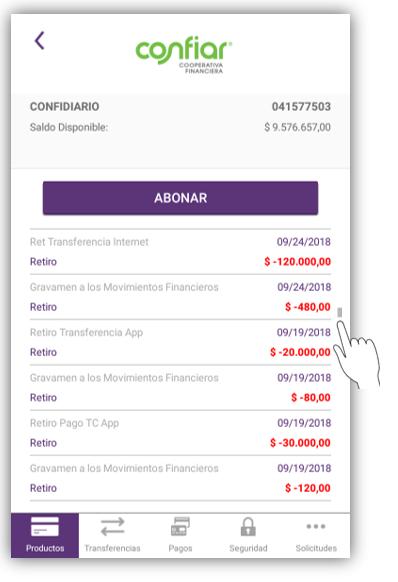 Consulta de extractos App Confiar Móvil