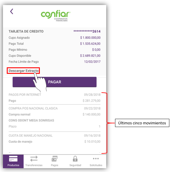 Consulta de facturas de tarjeta de crédito
