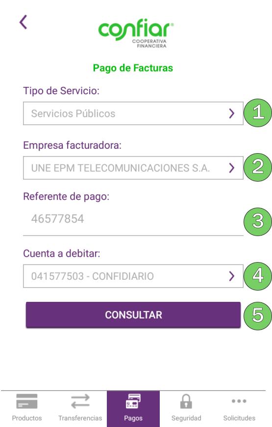 Pagos de facturas (servicios públicos, celular, medicina prepagada, etc.) App
