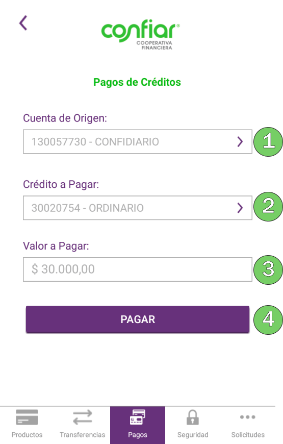 Pagos de créditos App Confiar Móvil